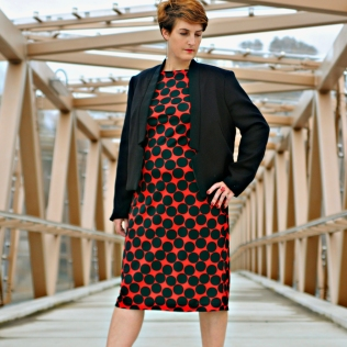 Fitted wool jacket & red /black dress