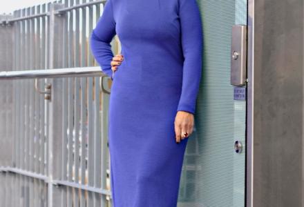 Flatting cut Cornflower Blue Merino Dress