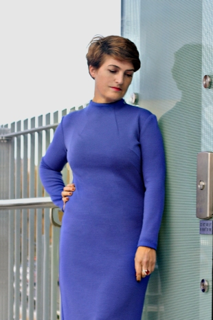 Flatting cut Cornflower Blue Merino Dress