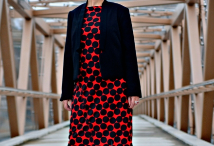 Double crepe Italian 100% wool jacket and eye-catching red/black spot shift dress