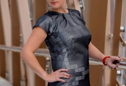 Cleverly cut silver metallic A/line dress