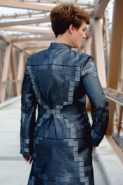 Back of metallic silver fitted jacket