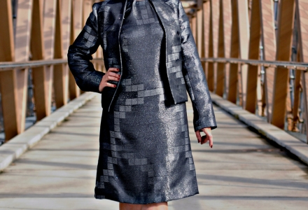 Out -Standing Metallic Fitted Jacket & A/line Dress