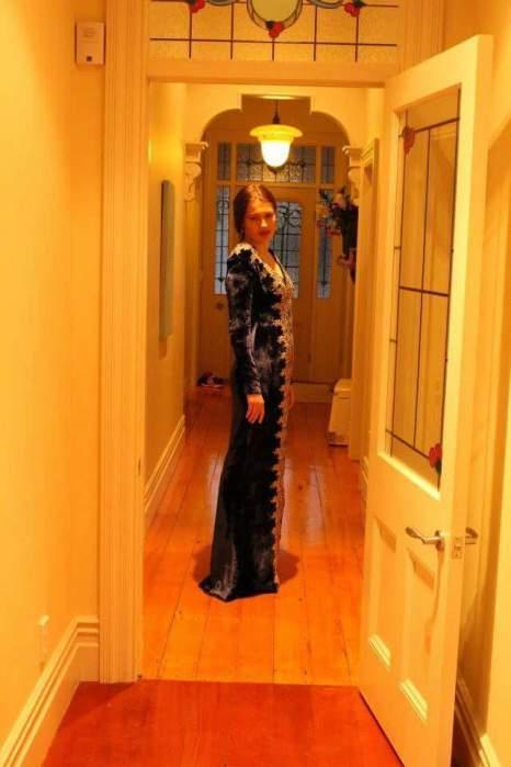 Midnight Silk velvet Gown with gold trim