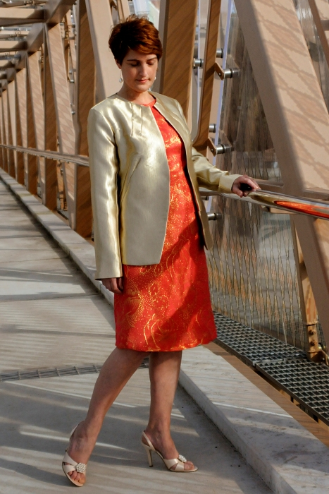 Coral and Gold dress with Gold Jacket