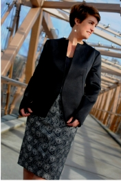 Black fitted Jacket With Darting detail and panled pencil Skirt
