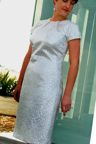 White and silver A/line Dress