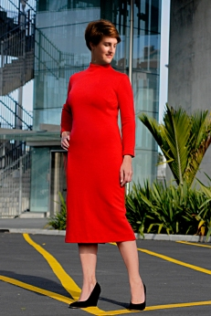 Red merino jersey dress