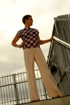 Stunning wide leg trousers and hounds tooth bodice top