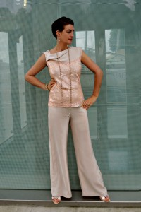 Classic bodice top & wide leg trousers