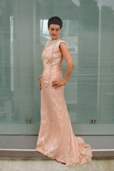 Blush Sequin Bodice and Long skirt