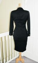 Back view bespoke made women's suit in italian wool