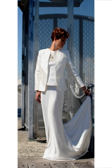 Fabulous Ivory Silk Jacket with Beaded silk Bodice and Silk Satin Skirt 2014