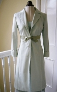 Dress Coat in soft mint colour with silk bow detatiling
