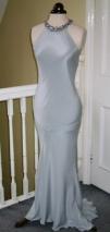 Silver silk crepe halter neck wedding gown