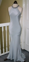 Silver silk crepe halter neck wedding gown