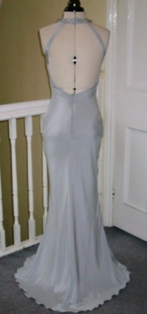 Back view of silver silk wedding gown