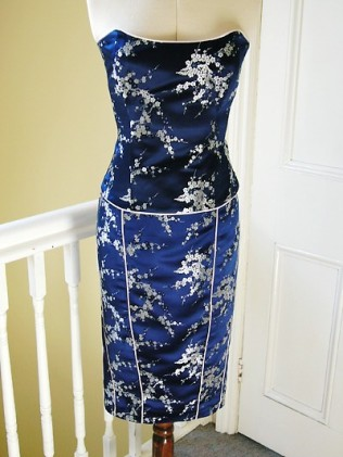 Little navy cherry blossom fitted bodice & pencil skirt