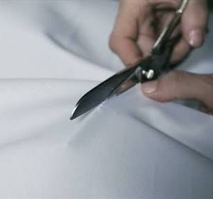 Hand Cutting White Silk Fabric