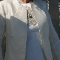 Tailored Silk Jacket with Beaded Bodice