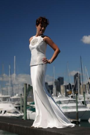 Silk and Rhinestone Bodice With Silk Satin Skirt