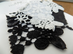 White and Black Lace samples by Kate Henry Designs