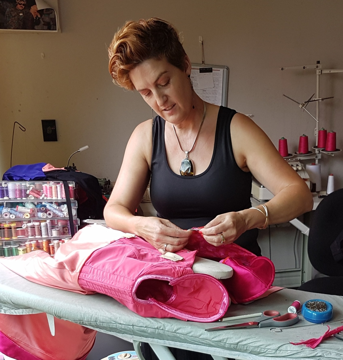 Hand Sewing Finishing to Bespoke made womens clothing by Kate Henry Designs