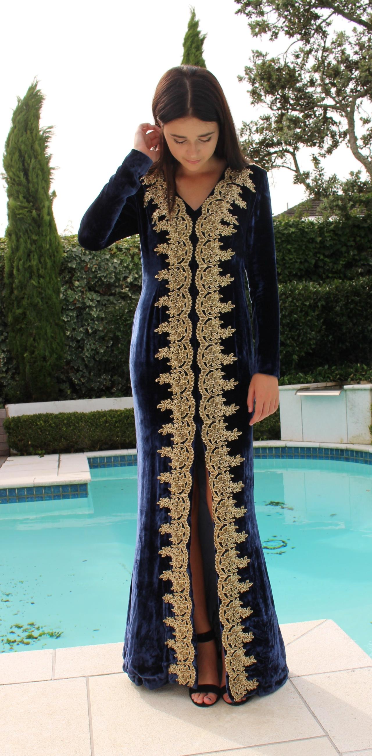 Custom made Midnight Silk Velvet Gown