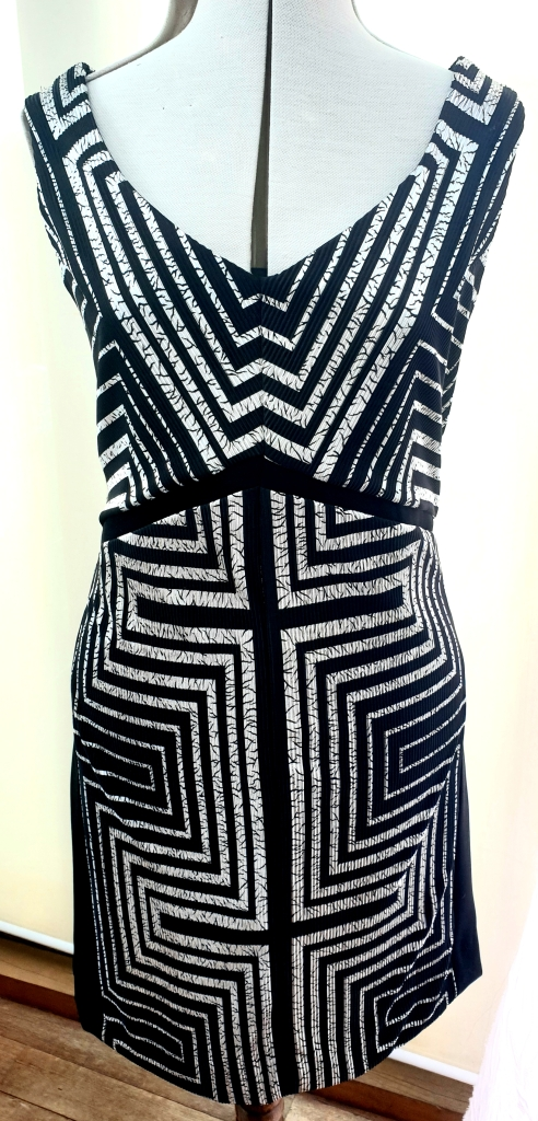 Timeless Art Deco Black and Silver Shift Dress