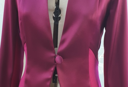 Rich plum satin jacket by Kate Henry Designs