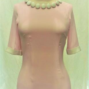 Bespoke made pale pink stretch silk shift dress