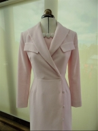 Customers pale pink coat perfectly matched with Kate Henry Designs silk shift dress