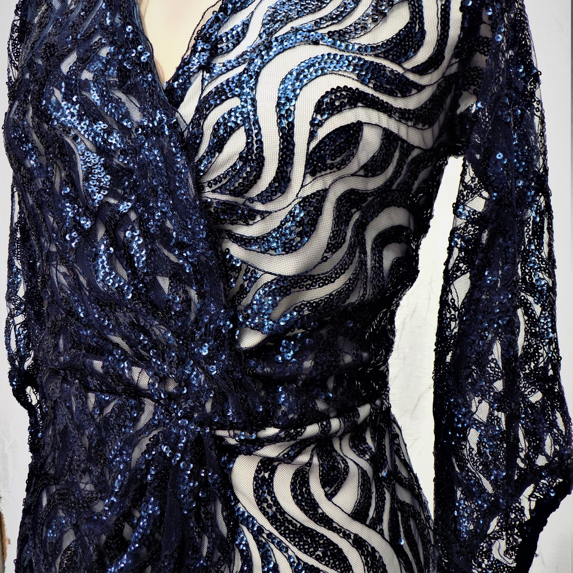 Navy Sequin Wrap Dress