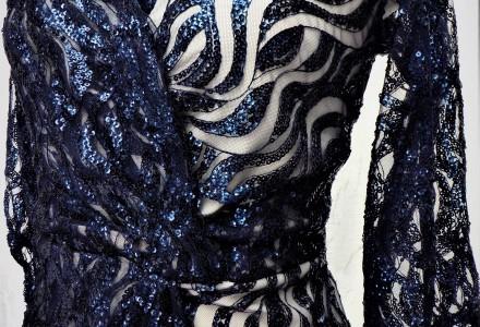 Navy Sequin Wrap Dress