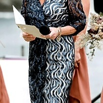 Navy Sequined Wrap dress by Kate Henry Designs